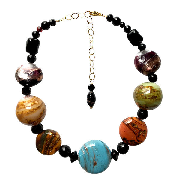 Jewel tone Murano Glass Necklace - Real Chic Boutique  - 1