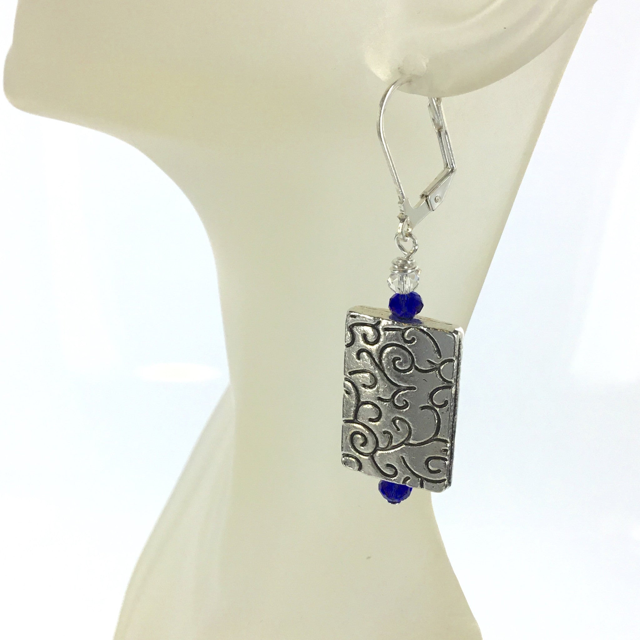 Blue and White Crystal Silver Earring - Real Chic Boutique  - 3