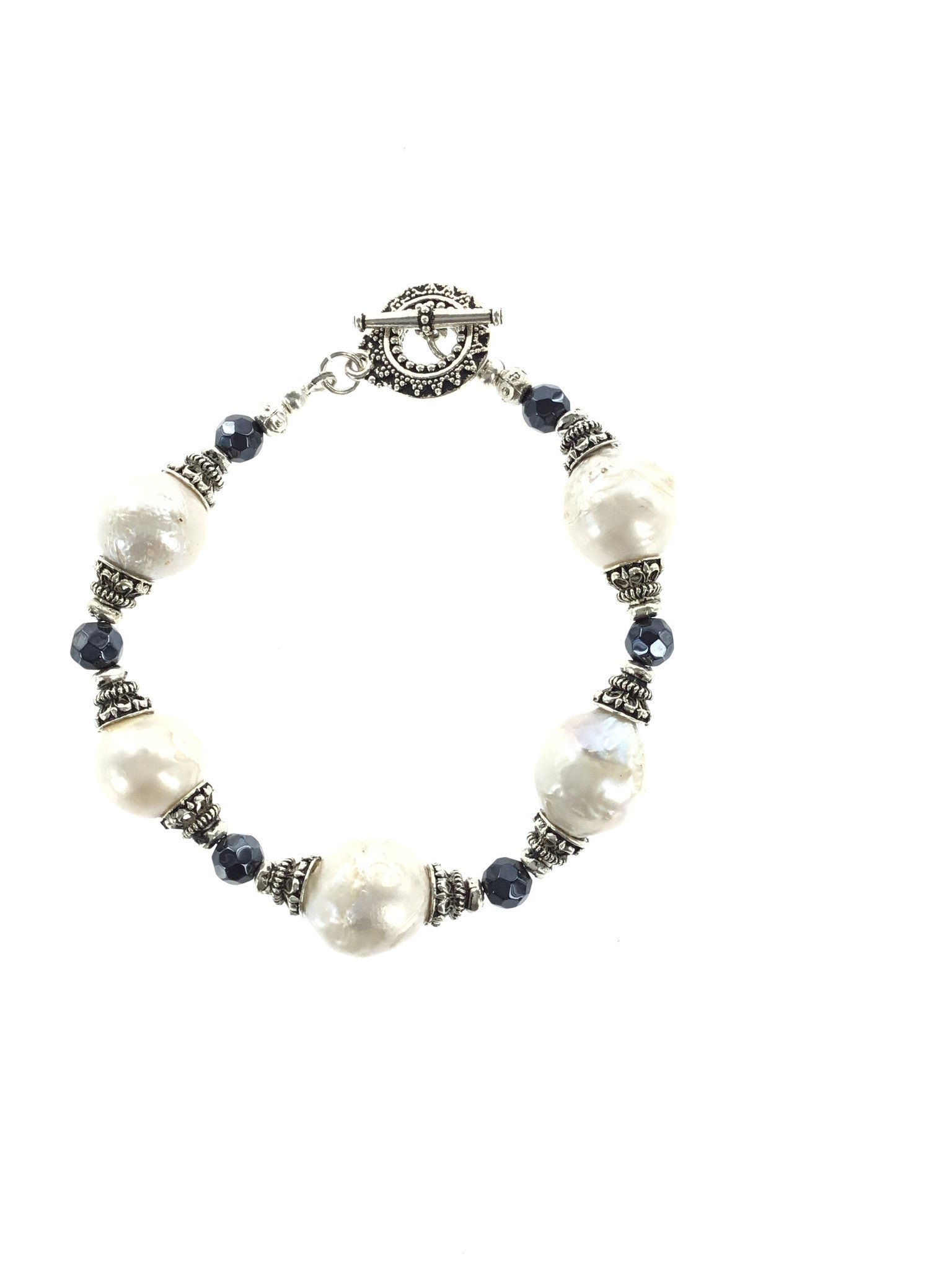 Fresh Water Pearl and Sapphire Bracelet - Real Chic Boutique  - 3