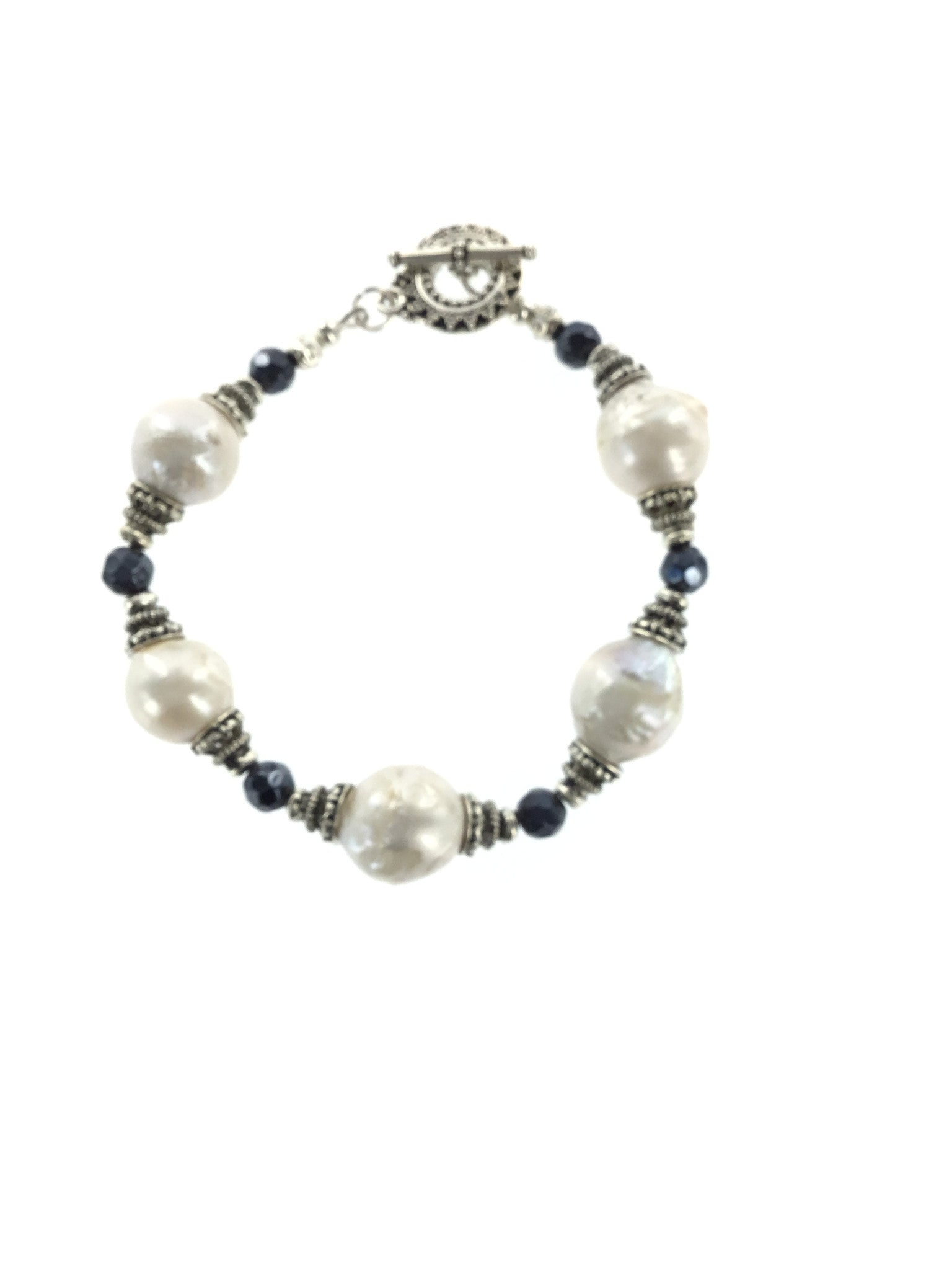 Fresh Water Pearl and Sapphire Bracelet - Real Chic Boutique  - 2