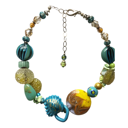 Teal & Chartreuse Yellow Murano Glass Necklace - Real Chic Boutique  - 1