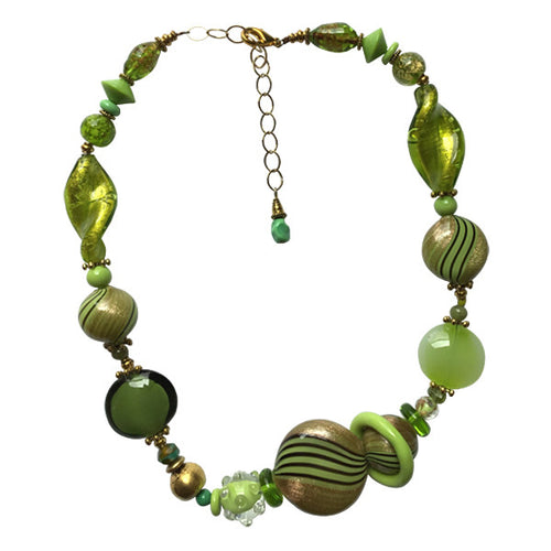 Chartreuse Green Murano Glass Necklace - Real Chic Boutique  - 1