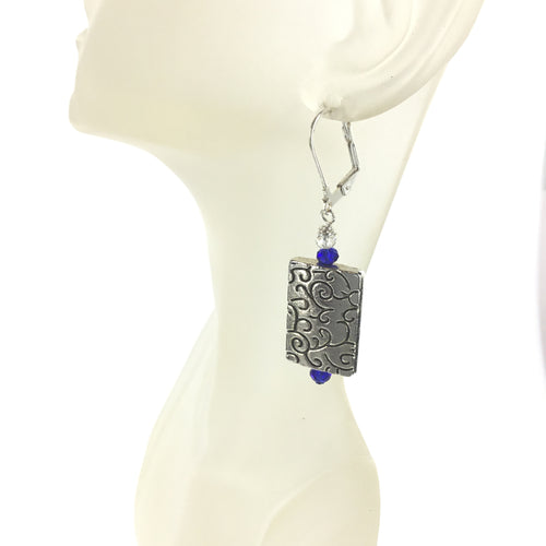 Blue and White Crystal Silver Earring - Real Chic Boutique  - 1