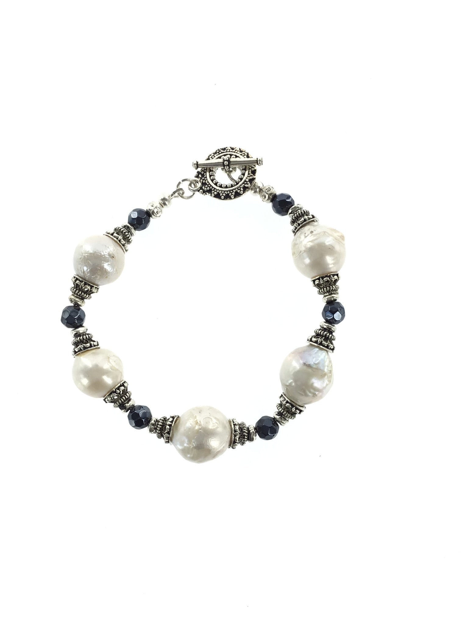 Fresh Water Pearl and Sapphire Bracelet - Real Chic Boutique  - 4