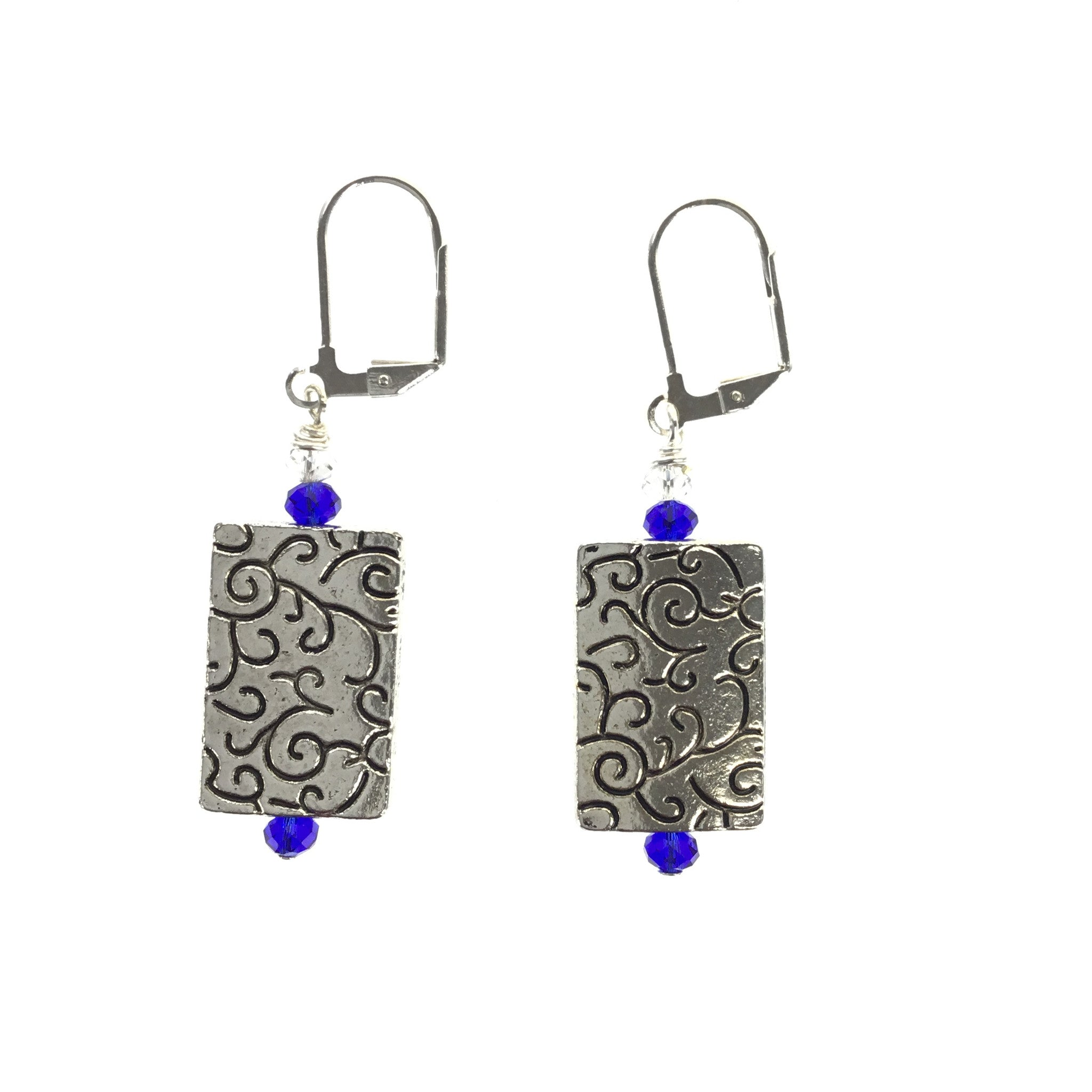 Blue and White Crystal Silver Earring - Real Chic Boutique  - 5