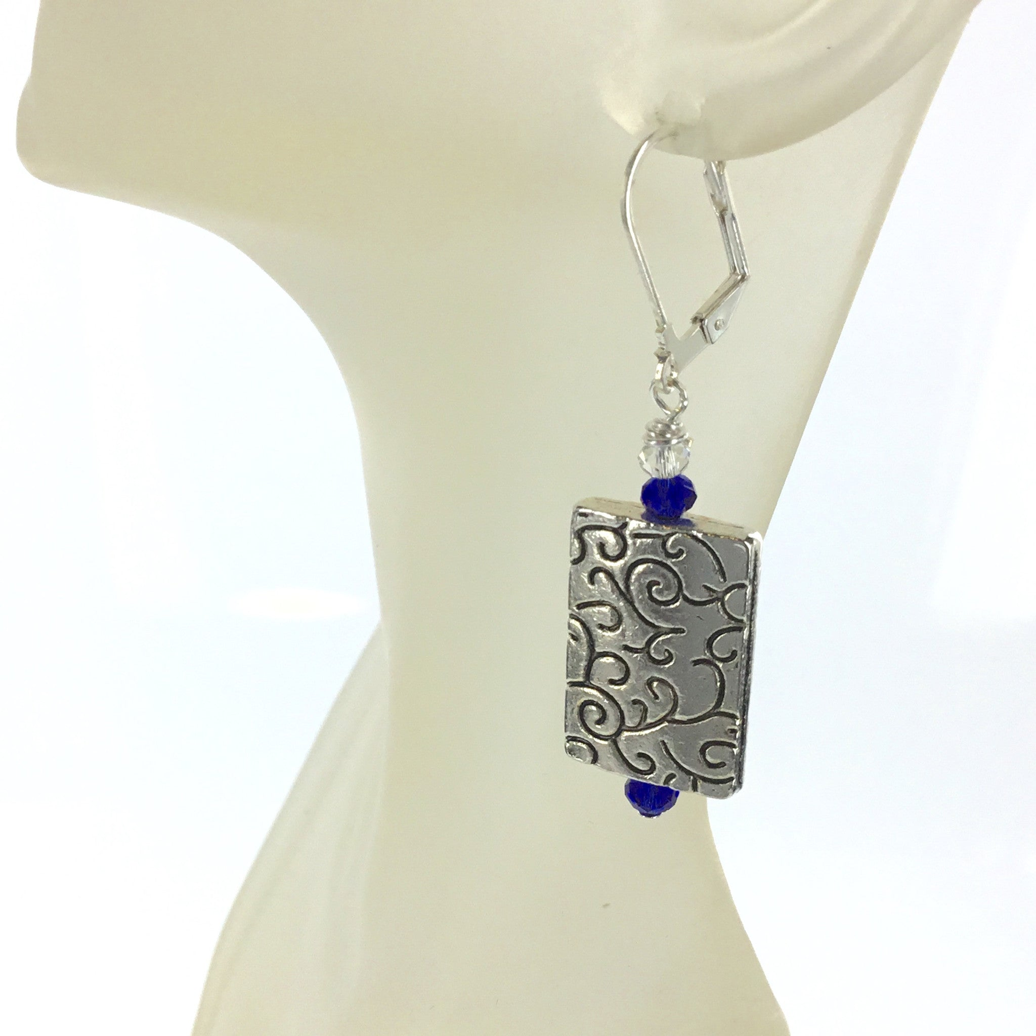 Blue and White Crystal Silver Earring - Real Chic Boutique  - 2