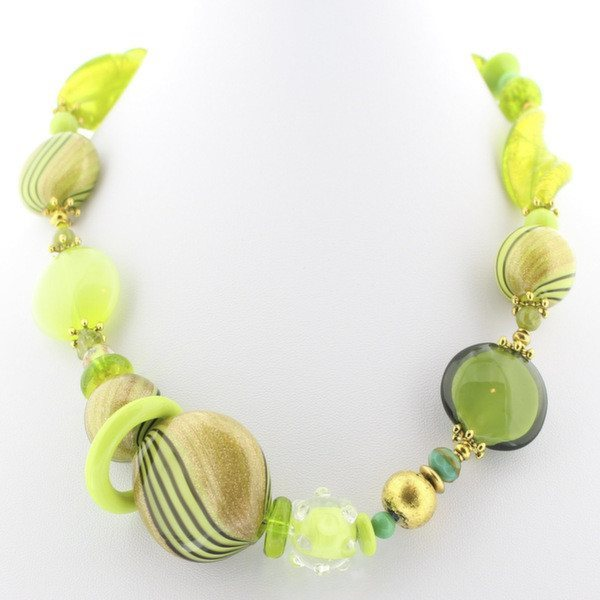 Chartreuse Green Murano Glass Necklace - Real Chic Boutique  - 2