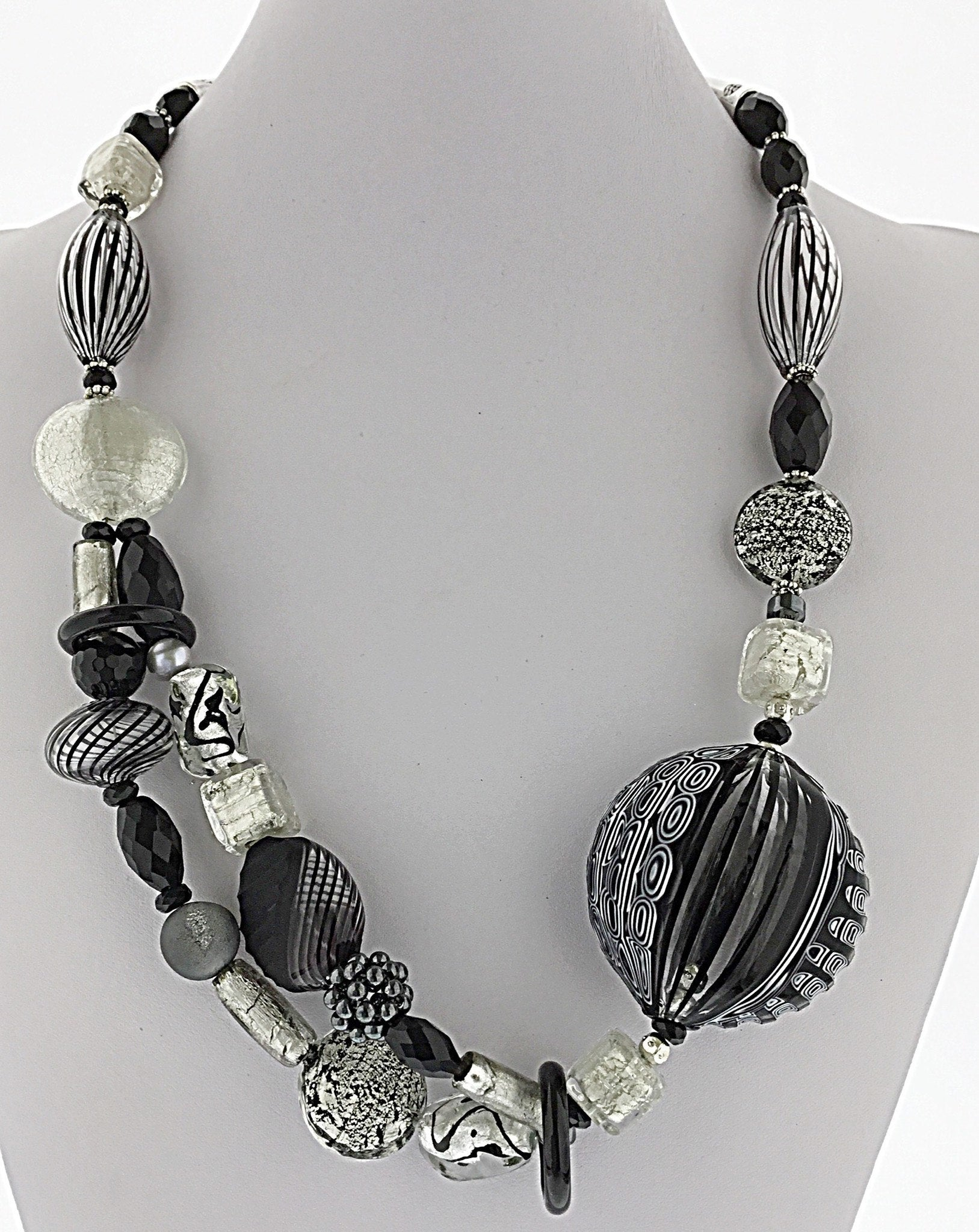 Murano Glass Necklace Black and White Stripes - Real Chic Boutique  - 2