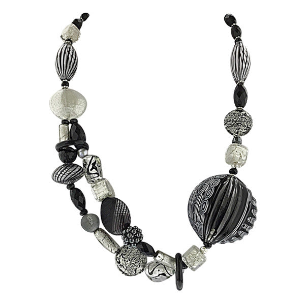 Murano Glass Necklace Black and White Stripes - Real Chic Boutique  - 1