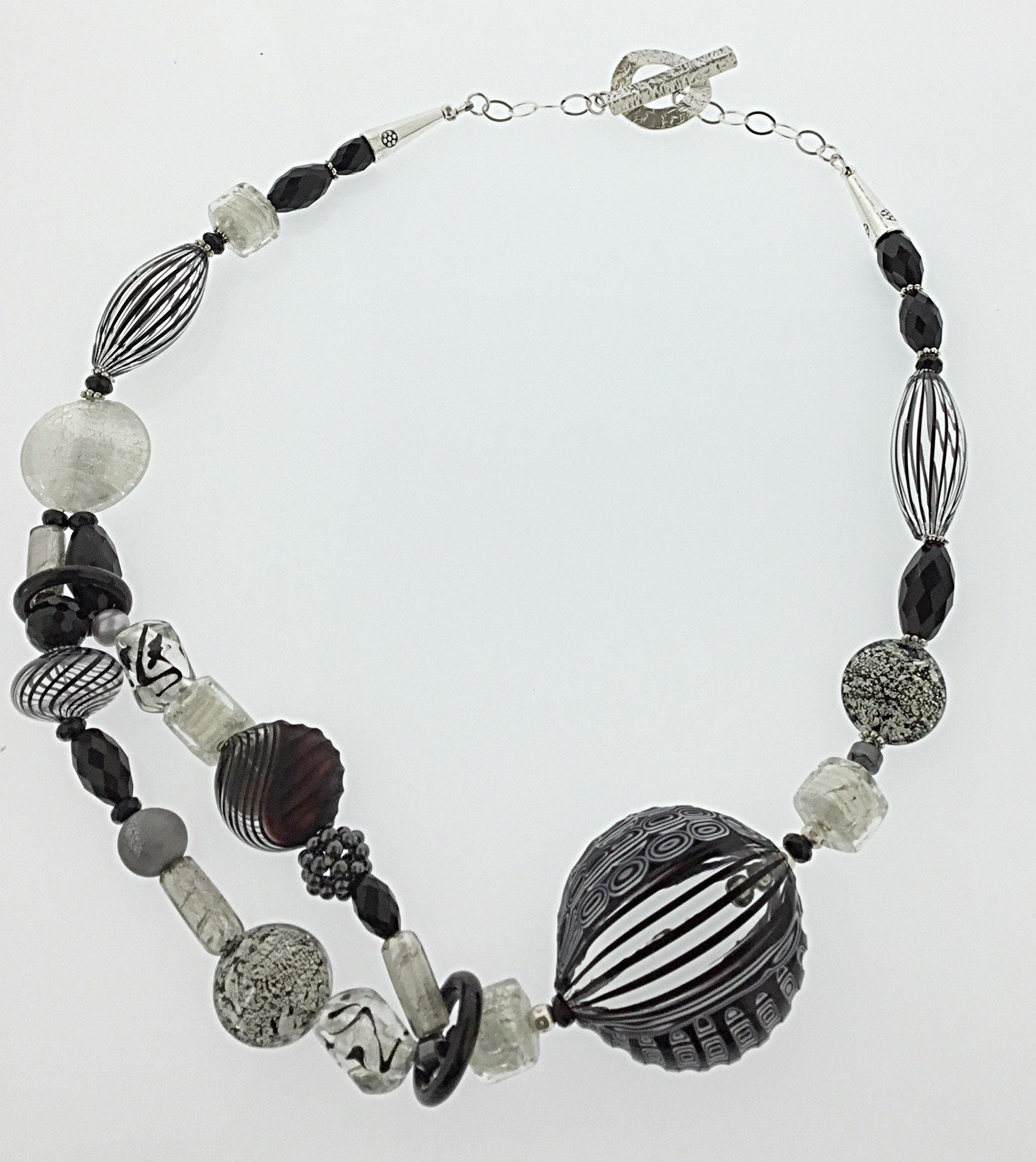 Murano Glass Necklace Black and White Stripes - Real Chic Boutique  - 3