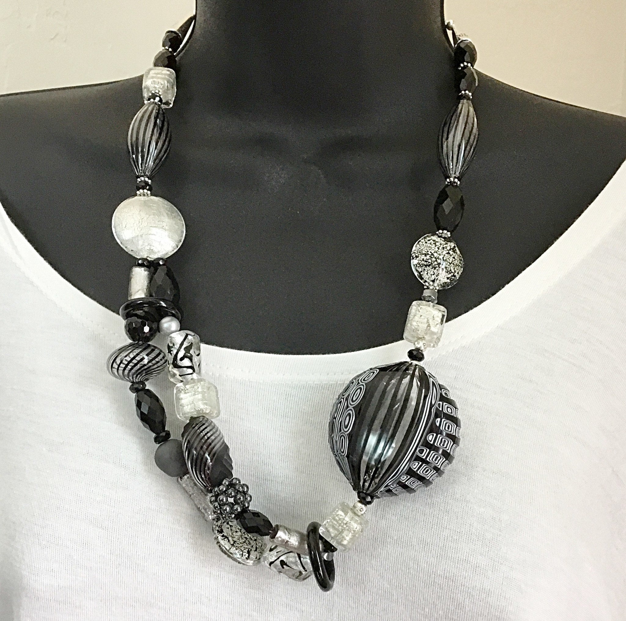 Murano Glass Necklace Black and White Stripes - Real Chic Boutique  - 4