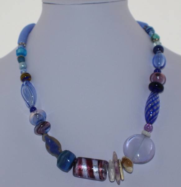 Murano Glass Necklace in Hues of Blue - Real Chic Boutique  - 2