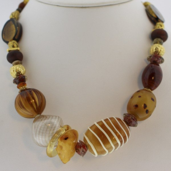 Murano Glass Necklace with Gold earth  tones - Real Chic Boutique  - 2