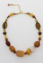 Murano Glass Necklace with Gold earth  tones - Real Chic Boutique  - 4