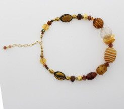 Murano Glass Necklace with Gold earth  tones - Real Chic Boutique  - 3