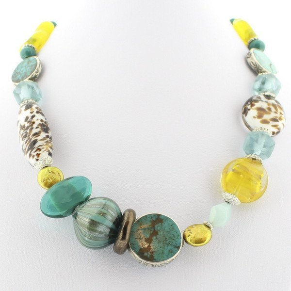Murano Glass Necklace with Turquoise - Real Chic Boutique  - 2