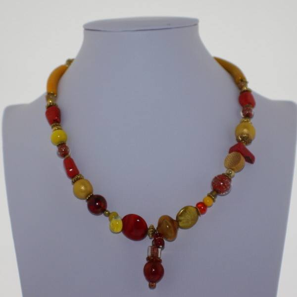 Orange and Yellow Murano Glass Necklace - Real Chic Boutique  - 2