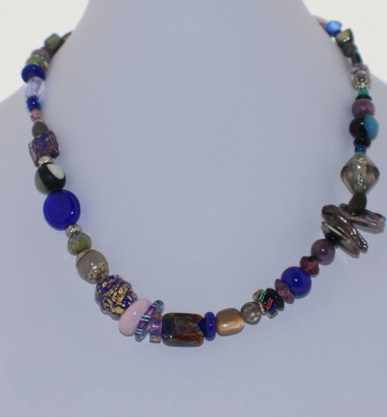 Royal Blue and Pink Pastel Murano Glass Necklace - Real Chic Boutique  - 2