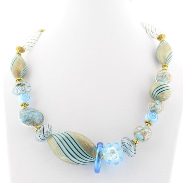 Teal Murano Glass Necklace - Real Chic Boutique  - 2