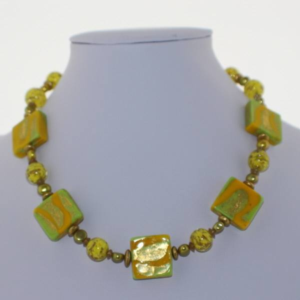 Yellow and Chartreuse Murano Glass Necklace - Real Chic Boutique  - 2