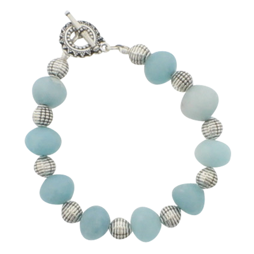 Aquamarine and Silver Bracelet - Real Chic Boutique  - 1