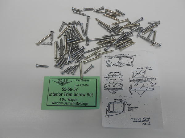 1955-57 Chevy #20-186 4 Door Station Wagon INTERIOR GARNISH TRIM SCREW SET