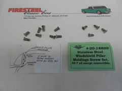 1955 -57 Chevy #20-188SS  Plated WINDSHIELD PILLAR SCREW SET