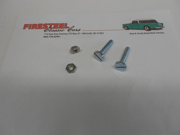 1955-56 Chevy 20-267/269 HOOD STOP BOLTS & Nuts at Cowl