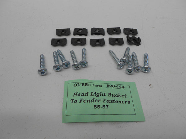 "1955-57 Chevy #20-444 HEADLIGHT BUCKET to BODY Fasteners ""Phillips Head"""