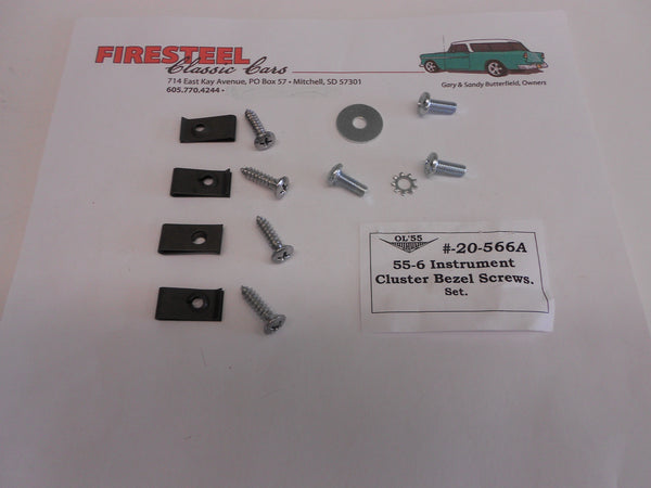 1955-56 Chevy #20-566A INSTRUMENT CLUSTER BEZEL SCREW SET