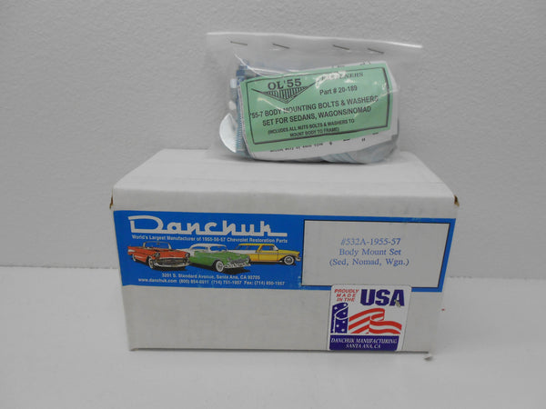 1955-57 Chevy Sedan, Wagon & Nomad #532A BODY MOUNT KIT w/ Bolt Kit