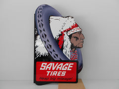 "SAVAGE TIRES Vintage Collector SIGN ""Heavy weight"""