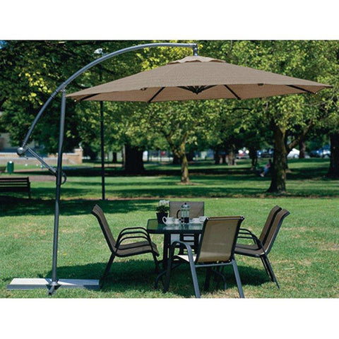 10-FT Mocha Offset Patio Canopy Umbrella Rotates 360 Degrees