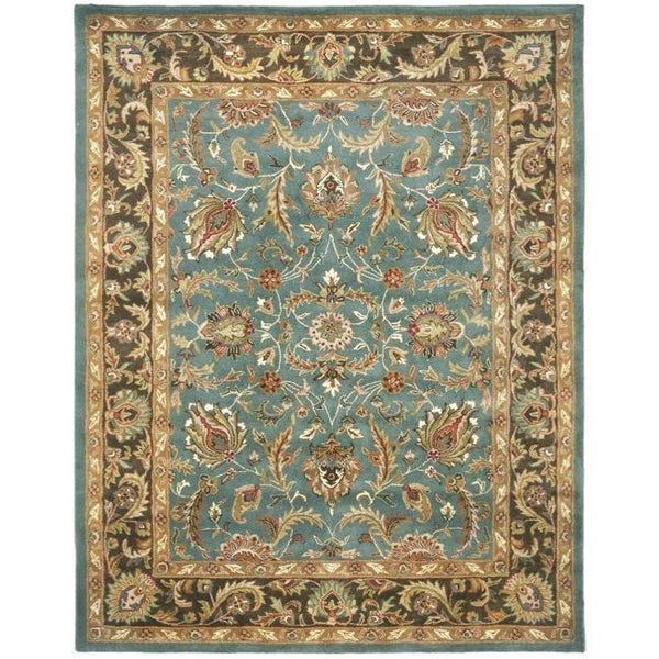 Handmade Heritage Blue/ Brown Wool Rug (9'6 x 13'6)