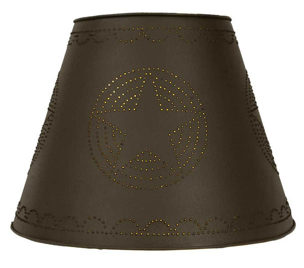 9x17x12 Star Tin Washer Top Lamp Shade - Rustic Brown