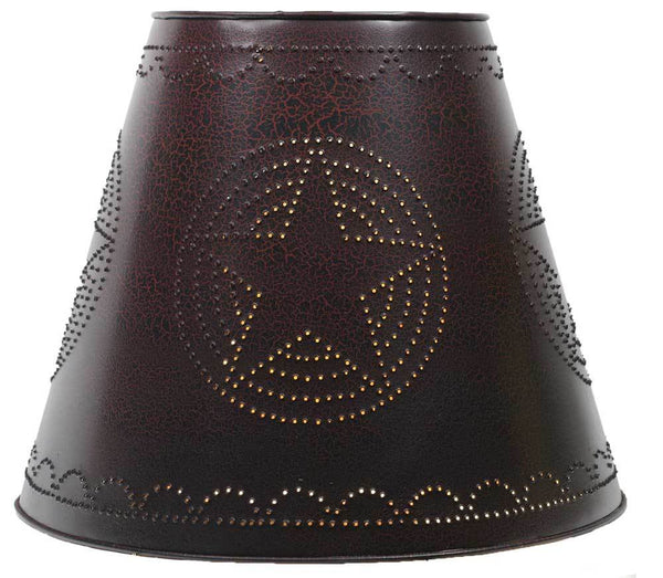 "8"" x 15"" x 12"" Tin Washer Top Lamp Shade - Star - Crackle Black/Red"
