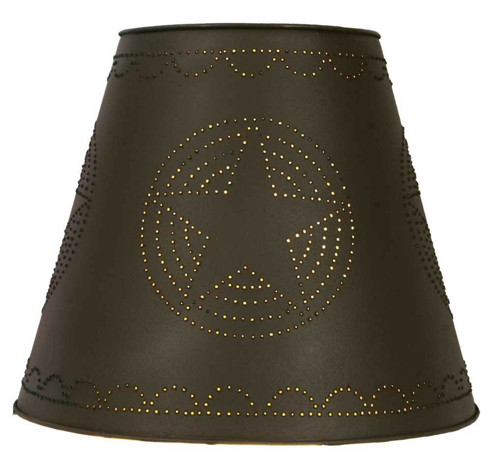 8x15x12 Star Tin Washer Top Lamp Shade - Rustic Brown