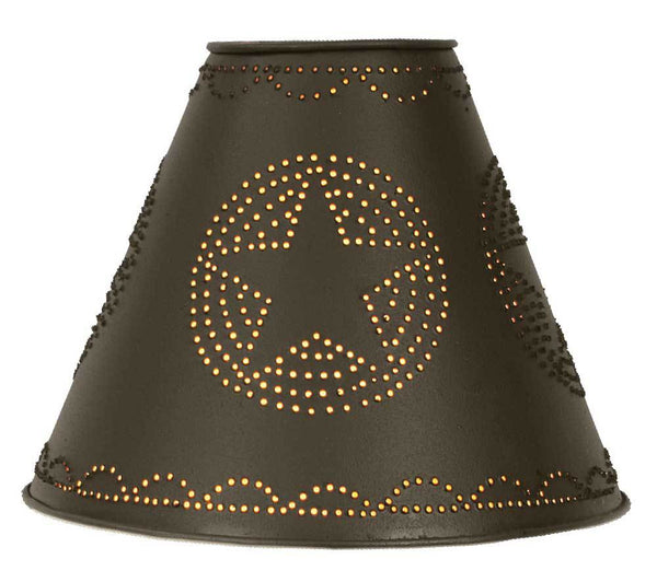 "4"" x 10"" x 8"" Star Punched Tin Shade - Rustic Brown"