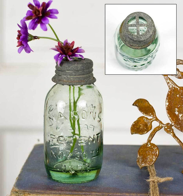 Small Mason Jar With Flower Frog - Box of 6
