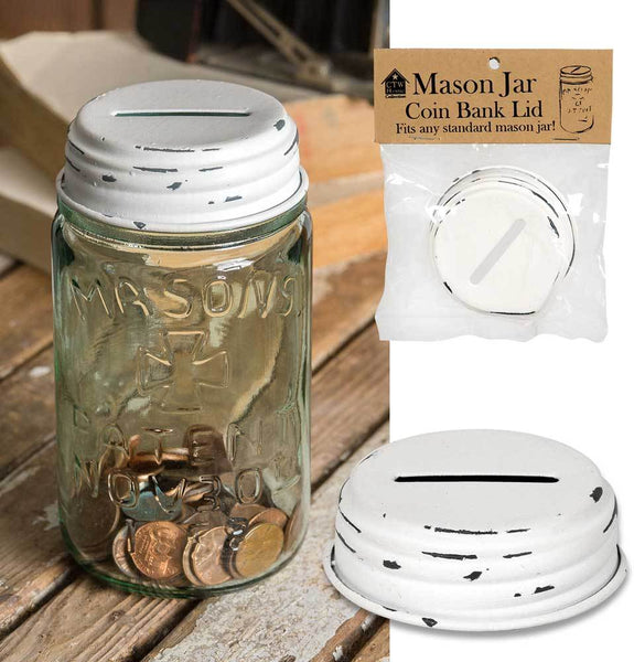 Mason Jar Coin Bank Lid - White - Set of 4