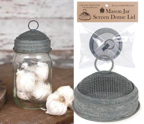 Mason Jar Screen Dome Lid - Barn Roof - Set of 6