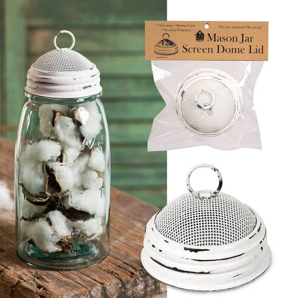 Mason Jar Screen Dome Lid - White - Set of 6