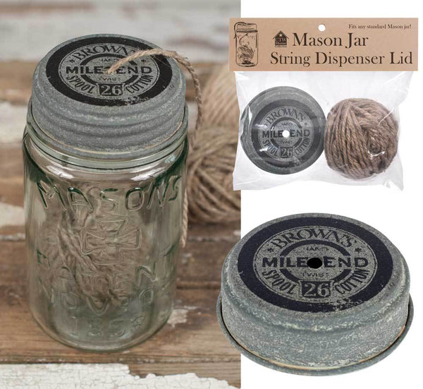 Mile End Mason Jar String Dispenser Lid with String - Set of 6
