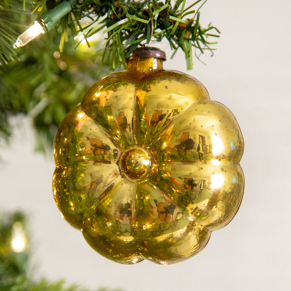 Gold Pillow Glass Ornament - Box of 4