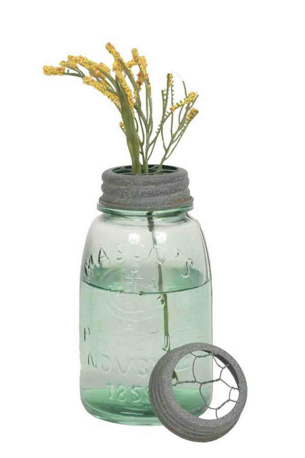 Midget Pint Mason Jar with Chicken Wire Flower Frog - Barn Roof - Set of 4