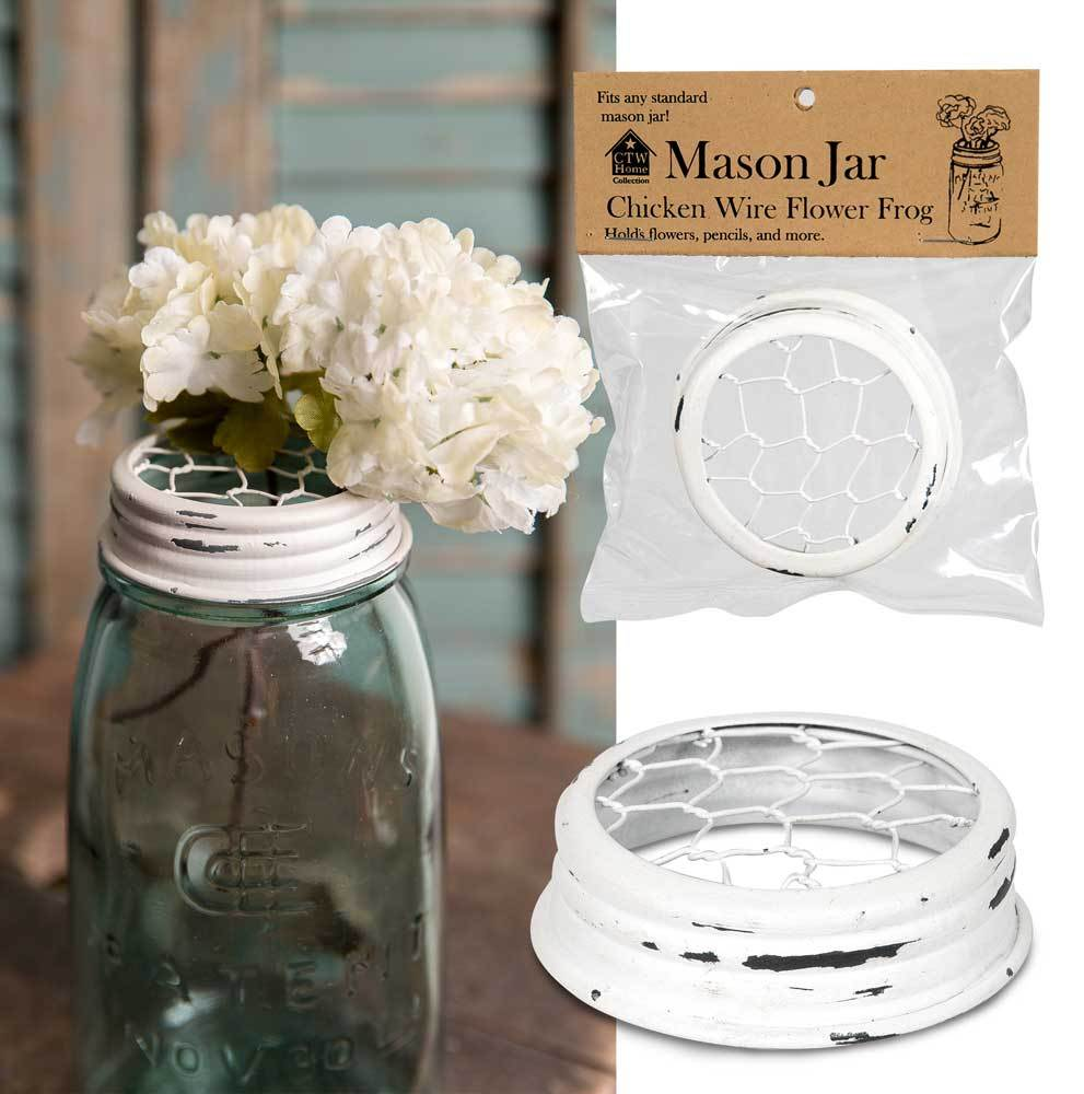 Mason Jar Chicken Wire Flower Frog Lid - White - Box of 6