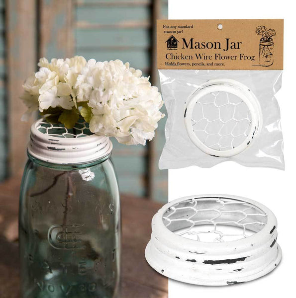 Mason Jar Chicken Wire Flower Frog Lid - White - Set of 6