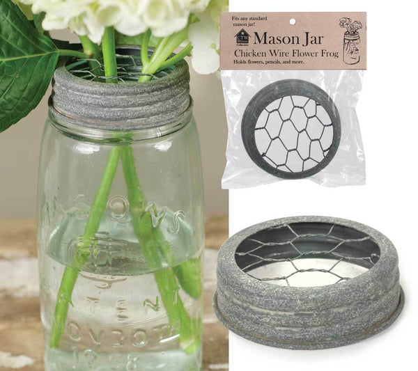 Mason Jar Chicken Wire Flower Frog Lid - Barn Roof - Box of 6