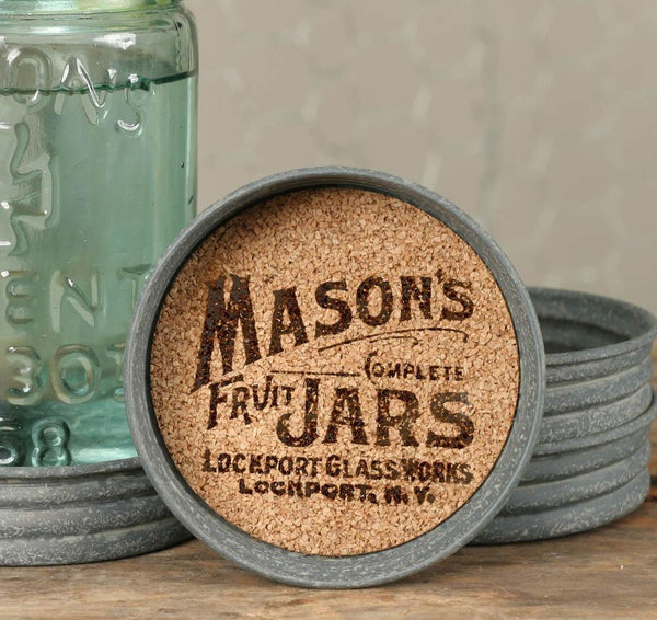 Mason Jar Lid Coaster - Mason Jar Logo - Box of 4