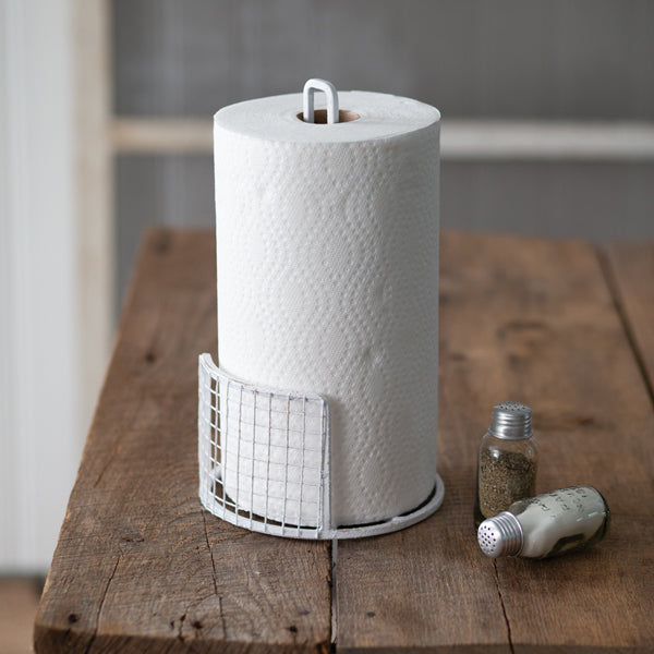 White Farmhouse Paper Towel Holder